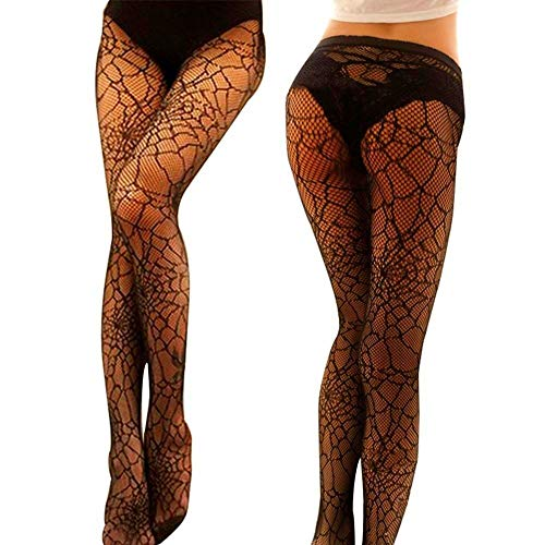 Black Mesh Fishnet Pantyhose Stockings Spider Web Tight Socks Halloween Witch Fancy Dress Costume Accessory ()