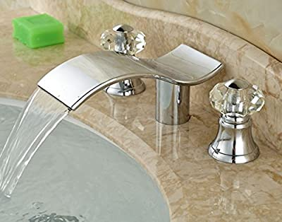 Contemporary Waterfall Spout Dual Crystal Knobs Bathroom Sink Faucet Widespread Mixer Tap