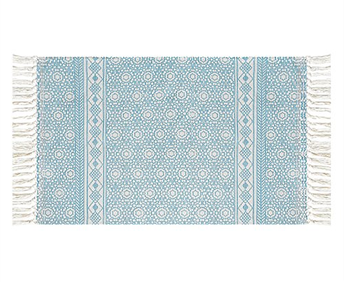 Ukeler Decorative Entry Rug 2ft by 3ft, 100% Cotton Blue Accent Floor Rugs for Porch/Kitchen by Ukeler