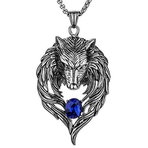 Angel Jewelry Stainless Steel Tribal Wolf Biker Pendant Necklace , 20