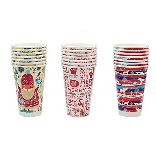 Christmas Cups Disposable Coffee Cup Tea Cup, 21 Count, 16oz