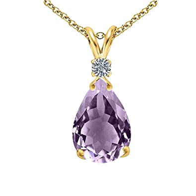 445826337 Amazon.com: Ladies Amethyst and Diamond Pendant Necklace- 14k Yellow Gold  over Sterling Silver (18 inch chain w/ Spring Clasp), Jewelry for women :  Jewelry