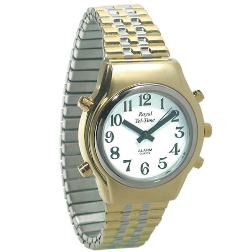 Mens Royal Tel-Time Bi-Color Talking Watch-White Dial - Expansion Band