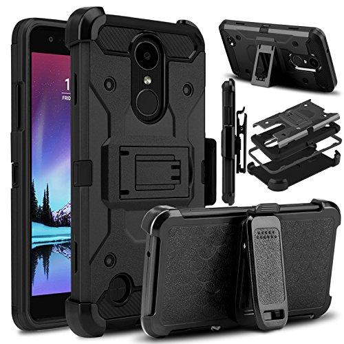 Case Shield Rubberized Black Protector (LG K20 Plus Case, LG K20 V Case, LG Harmony Case, Venoro Heavy Duty Shockproof Rugged Full Body Protection Case Cover with Belt Swivel Clip and Kickstand for LG K10 2017 / LG V5 (Black))