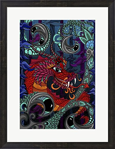 The Red Dragon by Phil Lewis Art Framed Art Print Wall Picture