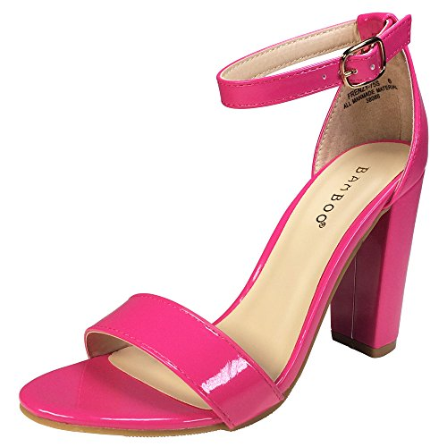 - BAMBOO Women's Single Band Chunky Heel Sandal with Ankle Strap, Fuchsia Patent Vegan Leather, 5.5 B US