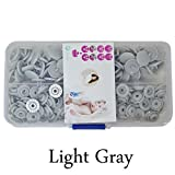 Seawhisper Starter Pack of 50 Complete Snaps/T5 Plastic Snap Fasteners Sets for Sewing Cloth Diaper/Bibs/Unpaper Towels/Nappies/Buttons/Mama Pads - A48 Light Gray