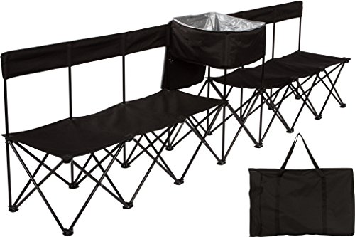 Trademark Innovations 10' Portable 6-Seater Folding Team Sports Sideline Bench with Attached Cooler & Slat Fabric Back (Black)