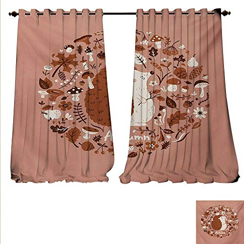 familytaste Drapes for Living Room Autumn Theme Animal Image with Many Season Elements Pine Cone Leaves Soft Colors Window Curtain Drape W72 x L108 Coral ()