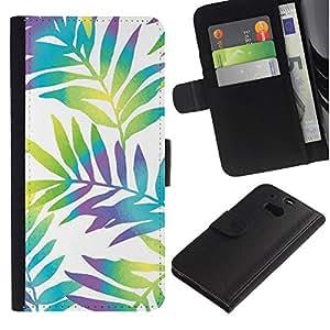 Billetera de Cuero Caso Titular de la tarjeta Carcasa Funda para HTC One M8 / Branch White Vibrant Leaves / STRONG