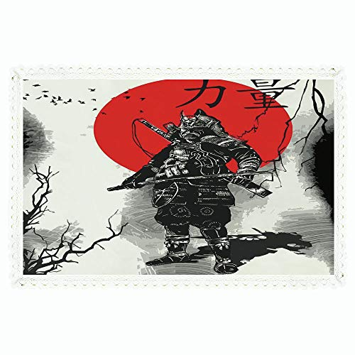 iPrint Japanese,Rectangle Polyester Linen Tablecloth/Portrait of Skilled Educated Aristocrat Ancient Knight with Weapon Man of War Image/for Dinner Kitchen Home Décor,60