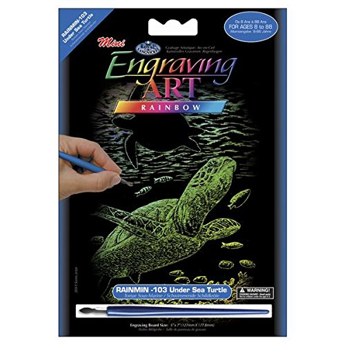 ROYAL BRUSH RAIMIN-103 Mini Rainbow Foil Engraving Art Kit, 5 by 7-Inch, Undersea Turtle