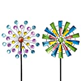 Bits and Pieces - Set of Two (2) Dots and Paddle Mini Wind Spinners - Decorative Kinetic Wind Mills - Unique Outdoor Lawn and Garden Décor, Lawn Ornaments