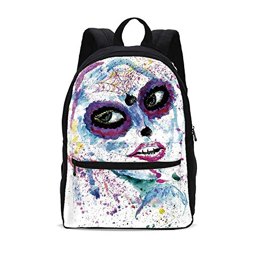 Girls Durable Backpack,Grunge Halloween Lady with Sugar Skull Make Up Creepy Dead Face Gothic Woman Artsy for School Travel,10.6