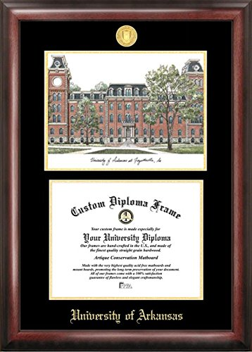 Campus Images ''University of Arkansas Embossed Diploma'' Frame with Lithograph Print, 8.5'' x 11'', Gold