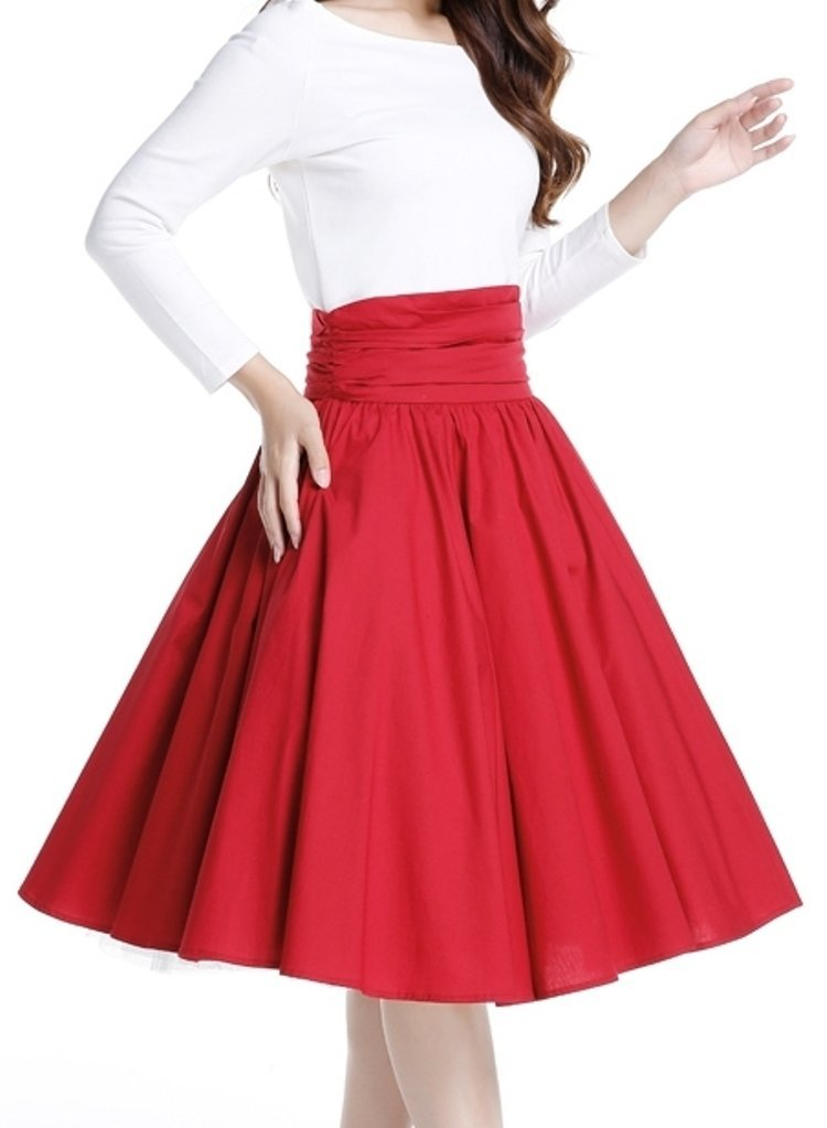 -Coffee Date- Red Retro Lindy Bop High Ruched Waist Vintage Style Skirt (Small)