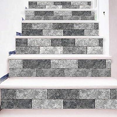 BBOOXX 3D Yo Adhesivo Escalera Estilo Europeo Estilo Moda Mural Bricolaje Apliques Decoración Mueble Puerta Pared Renovación Escalera Impermeable Multicolor Pegatina D-100 * 18cm*6pcs: Amazon.es: Hogar