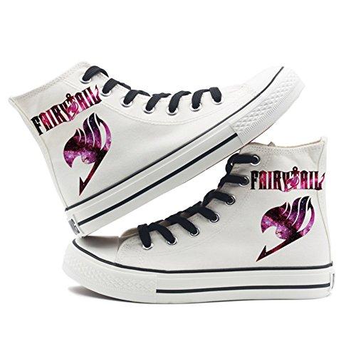 Fairy Tail Anime Logo Leinwand Schuhe Cosplay Schuhe Turnschuhe Schwarz / Weiß Weiß 4