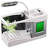 Mini USB LCD Desktop Lamp Light Fish Tank Aquarium LED Clock white + 1bag stone + a USB cable + 1 water plant,USB Desktop Aquarium Small fish tank by Traitonline