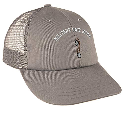 Custom Snapback Baseball Cap Military Army Dog Tags Border Embroidery Unit Cotton Mesh Hat Snaps - Grey, Personalized Text Here
