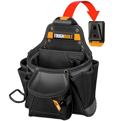 ToughBuilt - Contractor Tool Pouch - Multi-Pocket Organizer, Heavy Duty, Deluxe Premium Quality, Durable - 23 Pockets, Hammer Loop (Patented ClipTech Hub & Work Belts) (TB-CT-01) - Multi Tool Deluxe