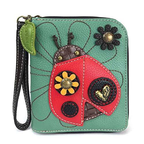 Chala Handbag Zip Wallet Collection (Teal Leather (Ladybug)) from Chala