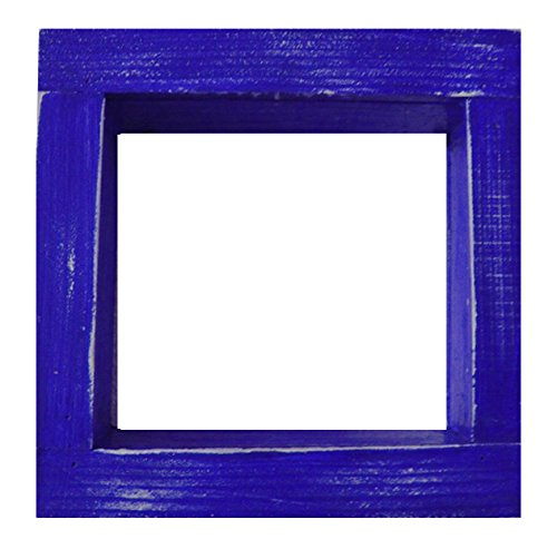 Square Wood / Wooden Shadow Box Display - 12'' x 12'' - Royal Blue - Decorative Reclaimed Distressed Vintage Appeal by IGC
