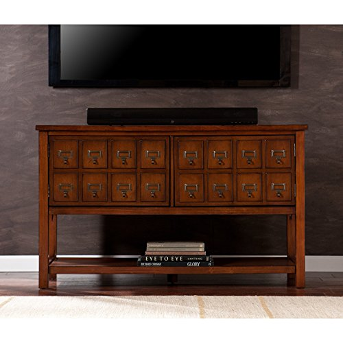 Clarissa Brown Mahogany Pine Console/TV Stand (Storage Apothecary Media)