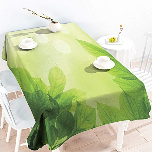 ScottDecor Indoor Outdoor Tablecloth Rectangular Table Covers Soft Green Bokeh Background with Beech Leaves Ecology Growth Garden Seedling W 60