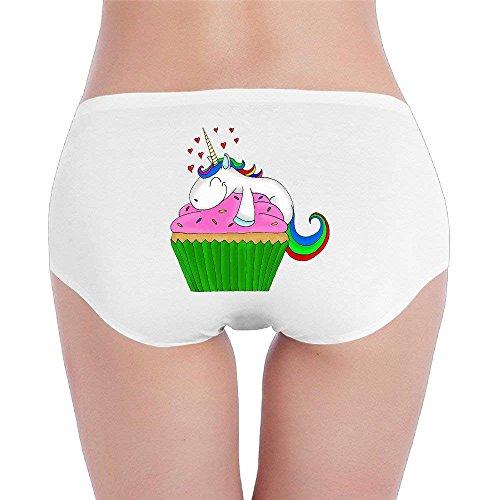 Lovely Pink Cupcake Unicorn Underwear Girl Low-Waist Stretch Brief Panties X-Large