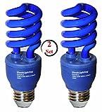 SleekLighting 13 Watt Blue Spiral CFL Light Bulb 120Volt, E26 Medium Base.(Pack of 2)