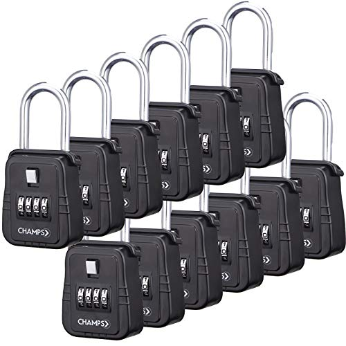 Champs Combination Realtor Lock, 4 Digit Comination Padlock, Real Estate Key Lock Box, Set-Your-Own Combination [12 Packs, Black] by Champs (Image #7)