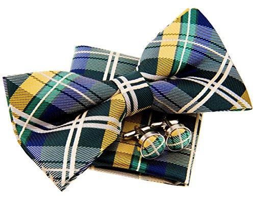 Retreez Elegant Tartan Plaid Check Woven Microfiber Pre-tied Bow Tie (Width: 5