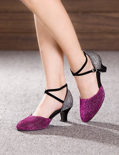 Heel Shangyi Patent Red Latin Dance Purple Black Cuban Leather Shoes Women's Customizable Non O1cOyzS