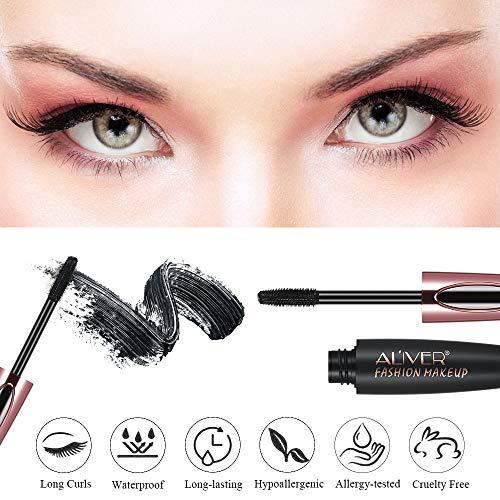 Mascara Black Volume and Length, Natural Waterproof Smudge-Proof 4D Silk Fiber Lash Mascara Long-Lasting, Adds Length, Depth & Glamour Effortlessly