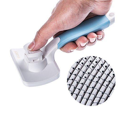 Professional Self Cleaning Slicker Brush for Dogs Puppy Cats Rabbits, Pet Grooming Brush Removes Mats Tangles, Comb For Dematting & Cleaning Loose Hair, Suitable for Long or Short Hair (Blue)
