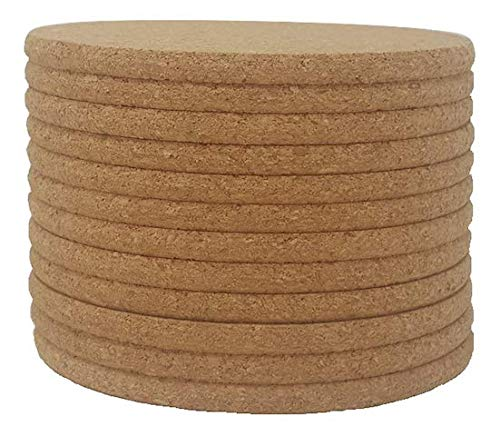 Cork Coasters  4quot x 4quot  1/4 Thick  Round Edges  Pack of 12