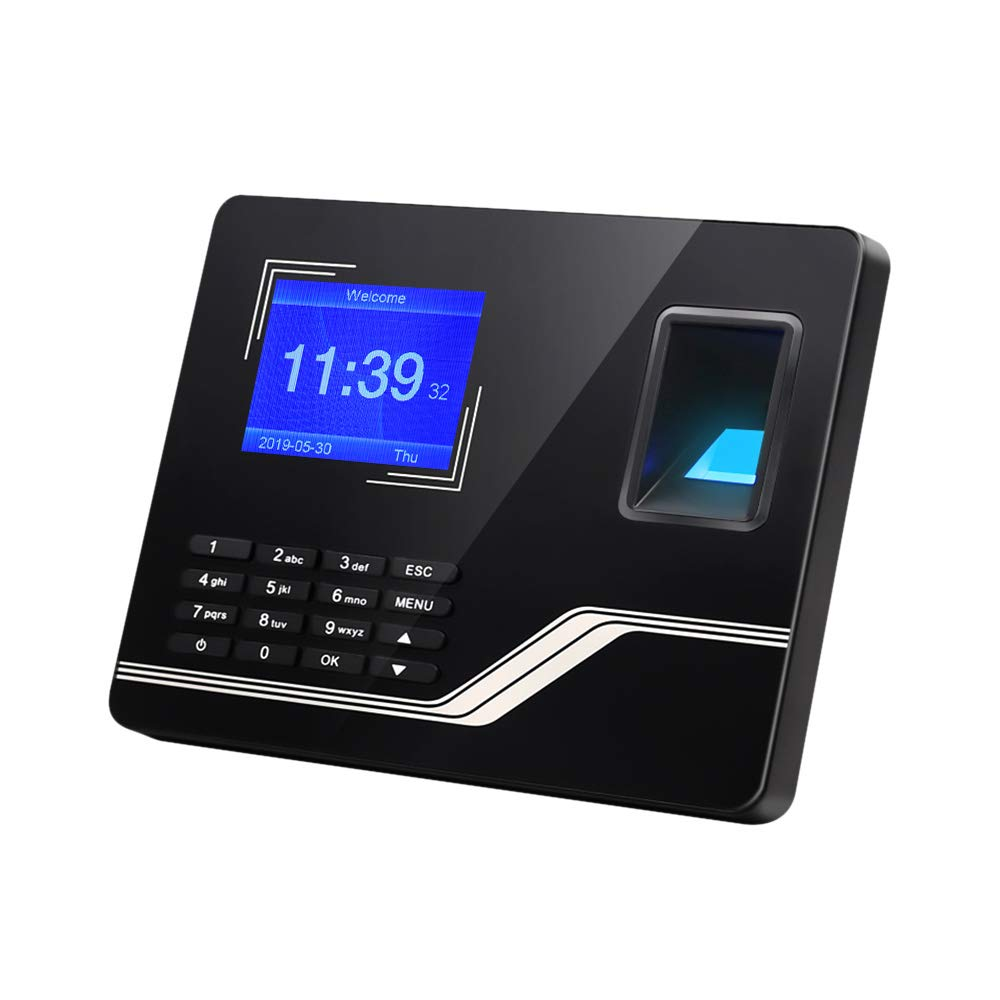 Aibecy Biometric Fingerprint Password Time Attendance Machine with 2.8 Inch TFT Screen Battery Employee Checking-in Recorder Reader Time Clock Support USB Disk Ethernet Interface Multi-Language by Aibecy