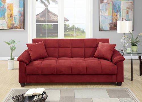 Poundex Romina Red Microfiber Adjustable Sofa Bed