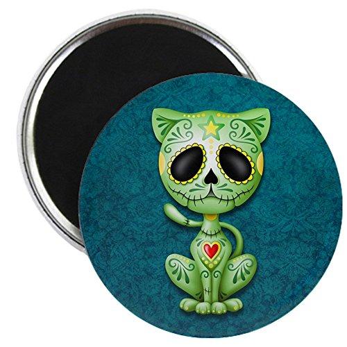 CafePress - Green And Blue Zombie Sugar Skull Kitten Magnets - 2.25
