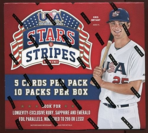 2015 Panini USA Stars & Stripes Baseball Factory Sealed Retail Box with 10 Packs! Includes FOUR(4) AUTOGRAPH or MEMORABILIA Cards ! Look for Autographs of Current and Former USA Baseball National Team Stars including Kris Bryant, Joey Gallo, Kyle Schwarber and Many More ! - National Team Autographs