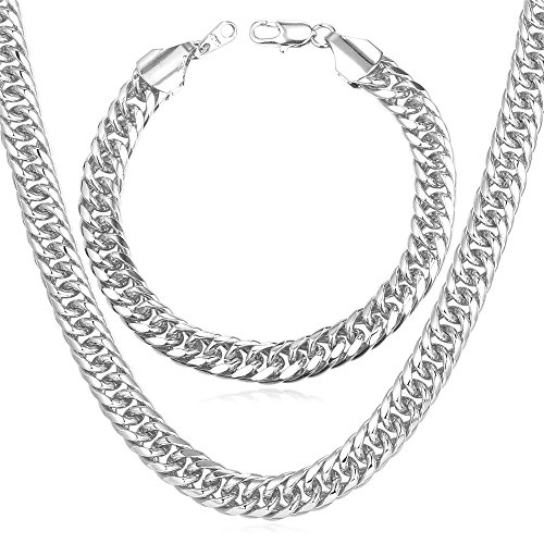 U7 Men Heavy Punk Chain Set 9MM Wide Thick Franco Curb Chain Jewelry Platinum Plated Chunky Necklace & Link Bracelet (22