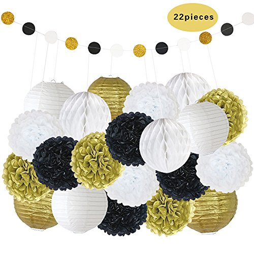 BTSD-home-Mixed-Gold-Black-White-Decorative-Paper-Pompoms-Flower-Hanging-Paper-Lantern-Honeycomb-Balls-Wedding-Birthday-Christening-Girl-Baby-Shower-Decoration-Favour-22pcs