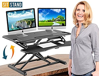 "Height Adjustable Standing Desk Converter Ergonomic Sit Stand Black Riser Large Table Top Size 37"" Inch Gas Spring Workstation Anti Fatigue Up Down Position Dual Monitor"