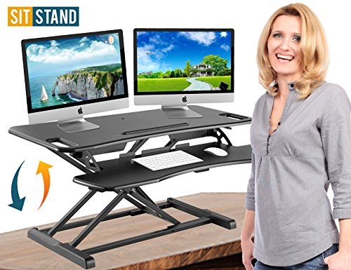 (Standing Desk Stand Up Desks Height Adjustable Sit Stand Converter Laptop Stands Large Wide Rising Black Dual Monitor PC Desktop Computer Riser Table Workstation Foldable Extender Ergonomic 37)