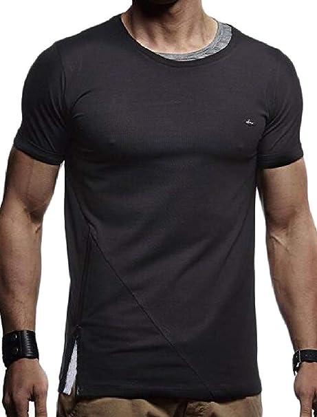 12844b6348f70 Sweatwater Men's Sport Fitness Short Sleeve Zipper-Slit T-Shirts ...