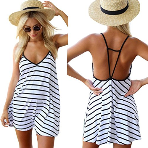 [Moxeay Sexy Women Black and White Stripes Spaghetti Strap Long Tops (US 4, White)] (Black White Stripe Dress)