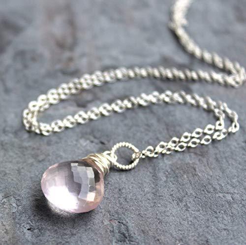(Rose Quartz Necklace Pink Pendant Drop Sterling Silver Briolette 18 Inch)