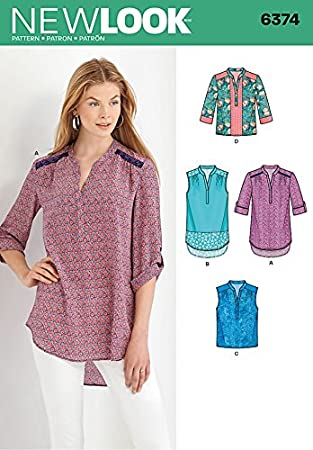 New Look Damen Schnittmuster 6374 Bluse Shirt Tops in 4 Styles + ...