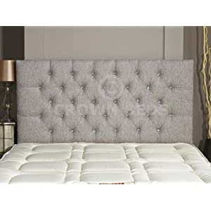 CROWNBEDSUK CHESTERFIELD DIAMANTE BUTTON HEADBOARD IN 2ft6,3ft,4ft,4ft6,5ft,6ft !!!!NEW!!!! (LIGHT GREY, 4FT6 (DOUBLE) DIAMANTE)